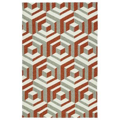 Doylestown Hand-Tufted Paprika/Gray/Ivory Indoor/Outdoor Area Rug Rug Size: 4 x 6
