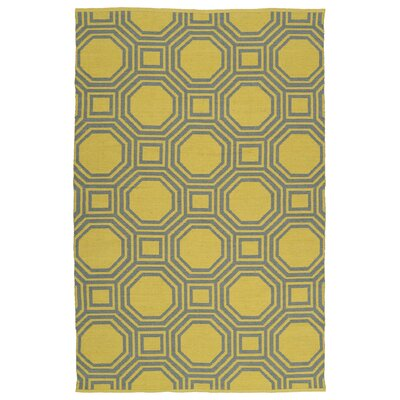 Littleton Gray/Yellow Indoor/Outdoor Area Rug Rug Size: 3 x 5
