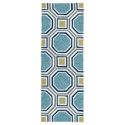 Doylestown Hand-Tufted Blue Indoor/Outdoor Area Rug Rug Size: Runner 2' x 6'