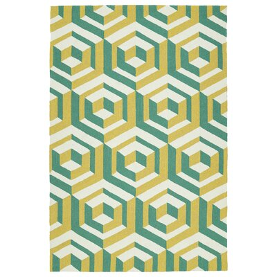 Doylestown Gold/Green Indoor/Outdoor Area Rug Rug Size: 4 x 6