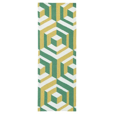 Doylestown Gold/Green Indoor/Outdoor Area Rug Rug Size: Runner 2 x 6