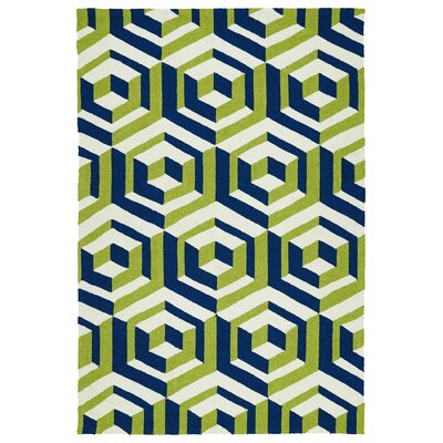 Doylestown Navy/Green Indoor/Outdoor Area Rug Rug Size: Runner 2 x 6