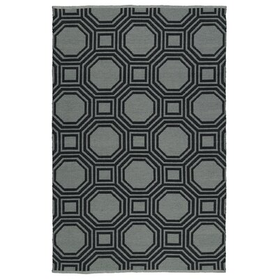 Littleton Gray/Black Indoor/Outdoor Area Rug Rug Size: 5 x 76