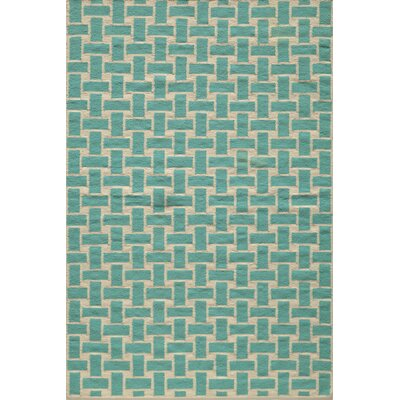 Hagler Hand-Woven Aqua Area Rug Rug Size: Rectangle 36 x 56