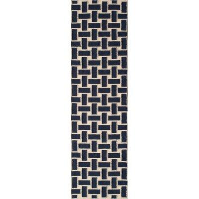 Hagler Hand-Woven Navy Area Rug Rug Size: Runner 23 x 8