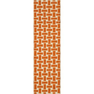 Hagler Hand-Woven Orange Area Rug Rug Size: Runner 23 x 8