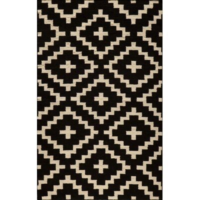 Hagler Hand-Woven Black Area Rug Rug Size: Rectangle 36 x 56