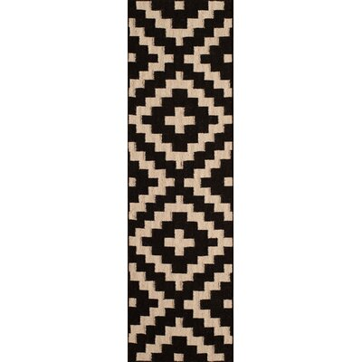 Hagler Hand-Woven Black Area Rug Rug Size: Runner 23 x 8