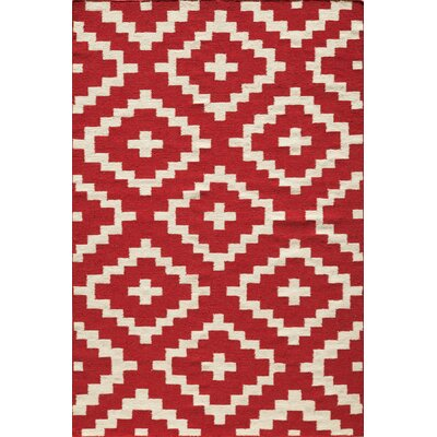 Hagler Hand-Woven Red Area Rug Rug Size: Rectangle 36 x 56