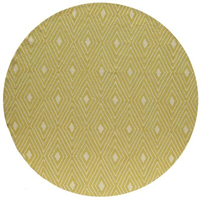 Haglund Yellow Hooked Indoor/Outdoor Area Rug Rug Size: Round 9