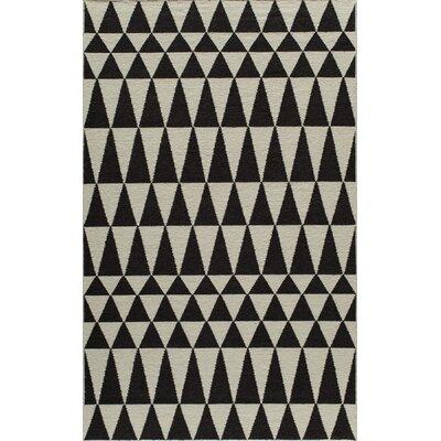 Hagler Hand-Woven Black Area Rug Rug Size: 36 x 56