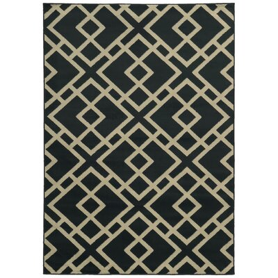 Halloran Navy/Beige Area Rug Rug Size: Rectangle 53 x 73
