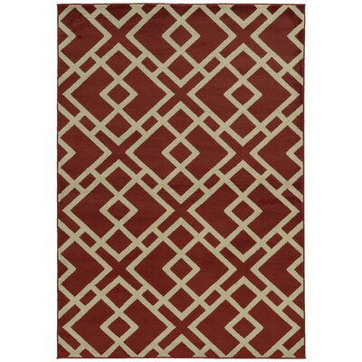 Halloran Red/Light Grey Area Rug Rug Size: 53 x 73