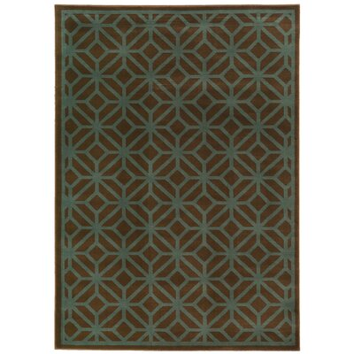 Halloran Brown/Blue Area Rug Rug Size: 33 x 55