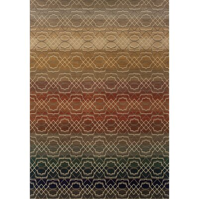 Hallock Geometric Brown/Beige Area Rug Rug Size: Rectangle 53 x 76