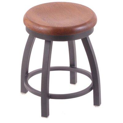 Cragin Vanity Stool Base Finish: Pewter, Seat Finish: Medium Oak