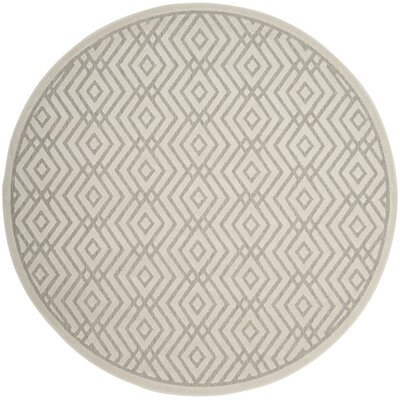 Cabana Light Gray/Cream Indoor/Outdoor Area Rug Rug Size: Round 67