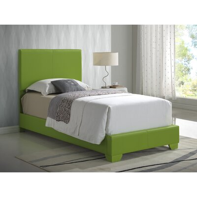 Aedan Upholstered Panel Bed Size: Twin, Color: Green