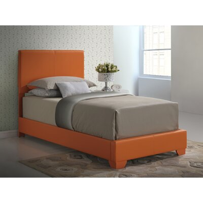 Aedan Upholstered Panel Bed Size: Twin, Color: Orange