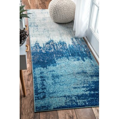 Gleno Blue Area Rug Rug Size: Runner 28 x 8