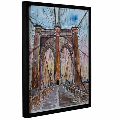 Brooklyn Bridge New York Framed Painting Print Size: 10