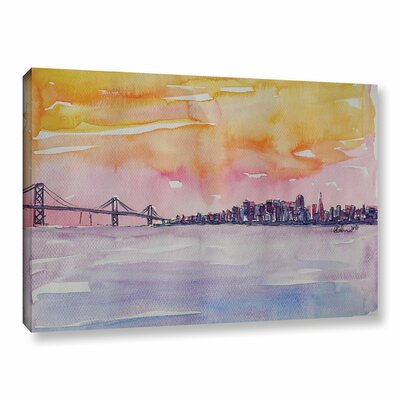 Bay Area Skyline Painting Print on Wrapped Canvas Size: 12