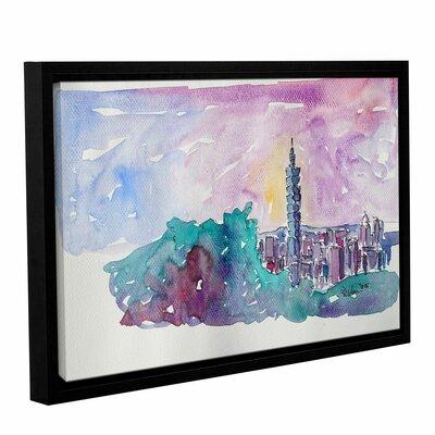 Taipei Skyline Framed Painting Print Size: 12