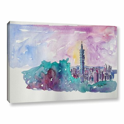 Taipei Skyline Painting Print on Wrapped Canvas Size: 12