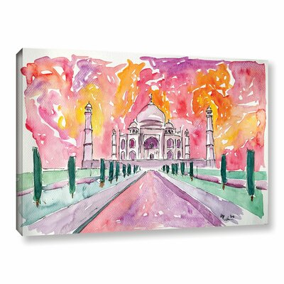 Taj Mahal Colorful Painting Print on Wrapped Canvas Size: 12
