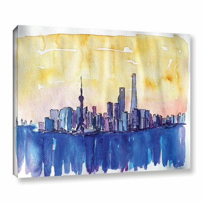 Stunning Shanghai Skyline Painting Print on Wrapped Canvas