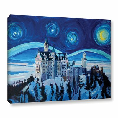 Starry Night with Romantic Castle Painting Print on Wrapped Canvas Size: 14