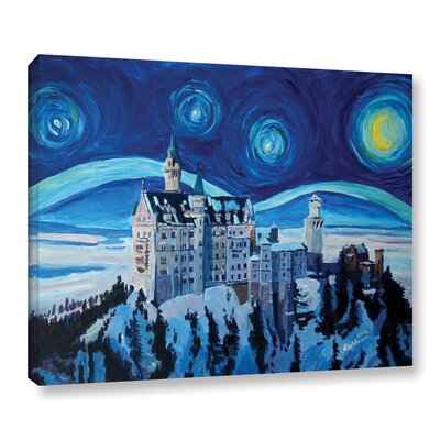 Starry Night in Neuschwanstein Painting Print on Wrapped Canvas Size: 14