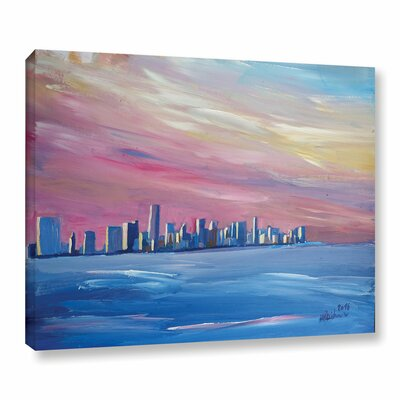 Miami Skyline Painting Print on Wrapped Canvas Size: 14