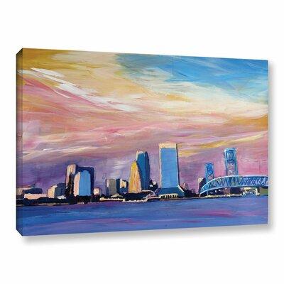 Jacksonville Florida Skyline Painting Print on Wrapped Canvas Size: 12