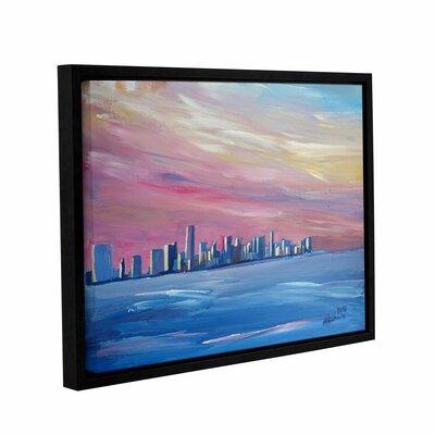 Miami Skyline Framed Painting Print Size: 14