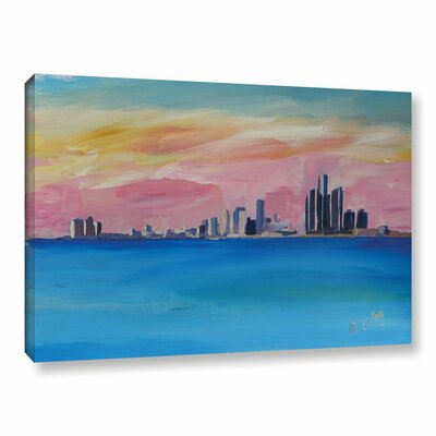 Detroit Michigan Skyline Painting Print on Wrapped Canvas