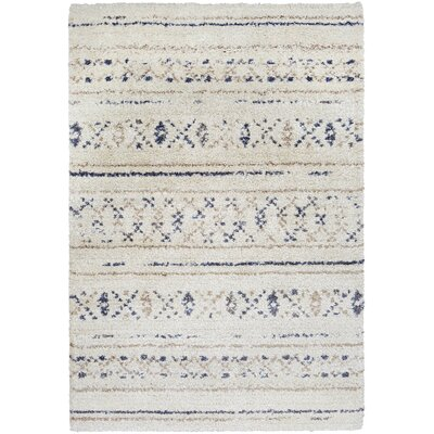 Kimberly Novia Ivory/Navy Blue Area Rug Rug Size: Rectangle 92 x 129