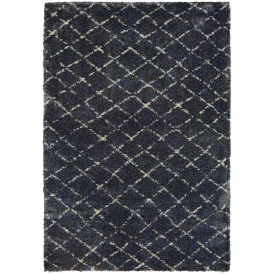 Park Place Navy/Gray Area Rug Rug Size: 53 x 76