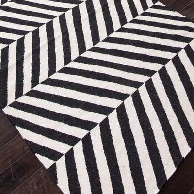 Daleville Hand-Woven Black Area Rug Rug Size: 8 x 10
