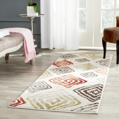 Shroyer Ivory / Green Geometric Rug Rug Size: Runner 24 x 67
