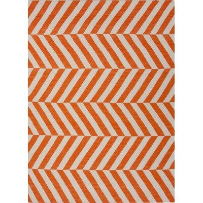 Melton Hand-Woven Orange Area Rug Rug Size: Runner 2'6