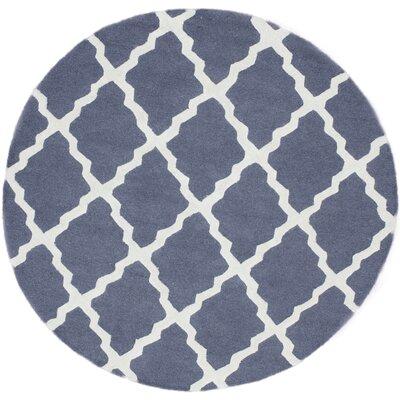 Terina Moroccan Trellis Kilim Charcoal Area Rug Rug Size: Round 6
