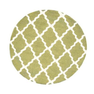 Simonds Moroccan Trellis Light Kilim Green Area Rug Rug Size: Round 6