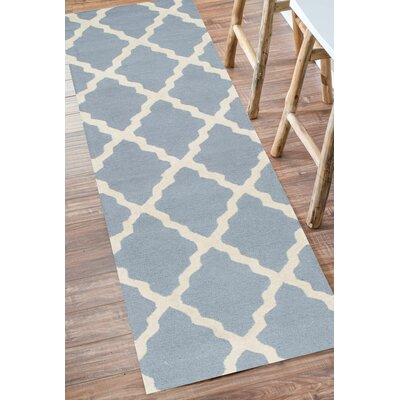 Simonds Moroccan Trellis Spa Kilim Blue Area Rug Rug Size: Runner 26 x 10