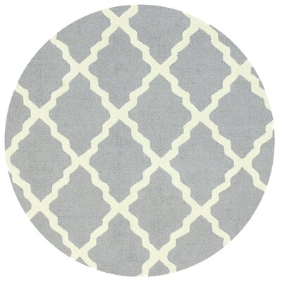 Tadlock Hand-Woven Gray Area Rug Rug Size: Round 6