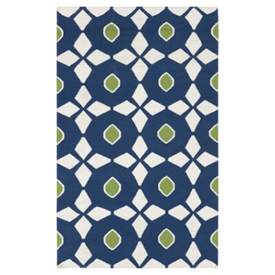 Donley Atlantic Blue/Antique White Geometric Area Rug Rug Size: Rectangle 2 x 3