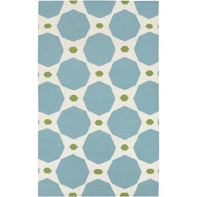 Donley Dark Robins Egg Blue/Parchment Area Rug Rug Size: Rectangle 8 x 11
