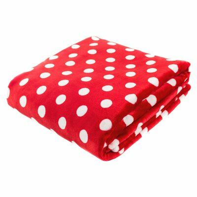 Canyon Creek Polka Dot Printed Fleece Blanket Color: Red, Size: 80 L x 60 W