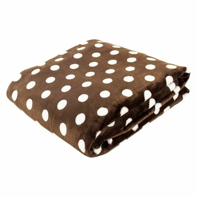 Canyon Creek Polka Dot Printed Fleece Blanket Color: Chocolate, Size: 80 L x 60 W