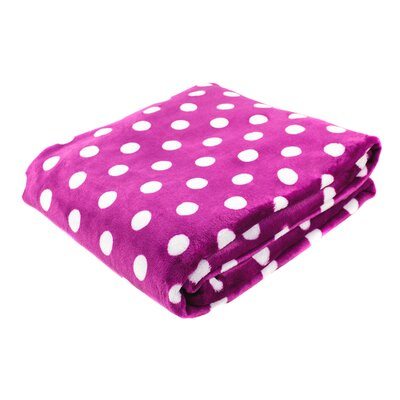 Canyon Creek Polka Dot Printed Fleece Blanket Color: Magenta, Size: 80 L x 60 W